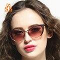SUNSTONE Бренд Classsic Дизайнер женская Мода Cat Eyes Эльф Солнцезащитные Очки Высококачественный Металлический Каркас Торгового Подиум UV400 Оттенки SA73