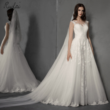 2019 Newest Tulle A-Line Wedding Dress Long Appliques Elegant Sweep Train Bride Gown Bridal Dresses vestido de noiva