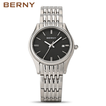 BERNY 2017 Men Business Stainless Steel Water Resistant Quartz Wristwatch Male Casual Fashion Watches Golden Luxury Top Brand