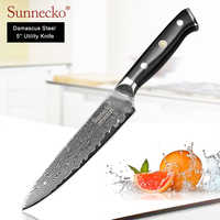 "SUNNECKO 5"" inch Utility Knife Multipurpose Damascus Kitchen Chef Knives Japanese VG10 Steel Sharp Blade G10 Handle Cutter Tool"