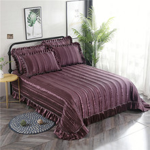 Purple Khaki Gray Blue Luxury European Polyester Cotton Quilted Bedspread Bed Cover Sheet Linen Blanket Pillowcases 3pcs