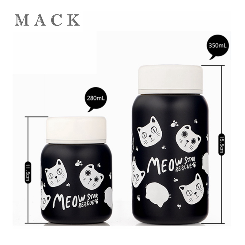 Fruit Cat Thermos Cup Cartoon Stainless Steel Car Vacuum Flask Office Coffee Mug Vehicle Bottle Thermoses