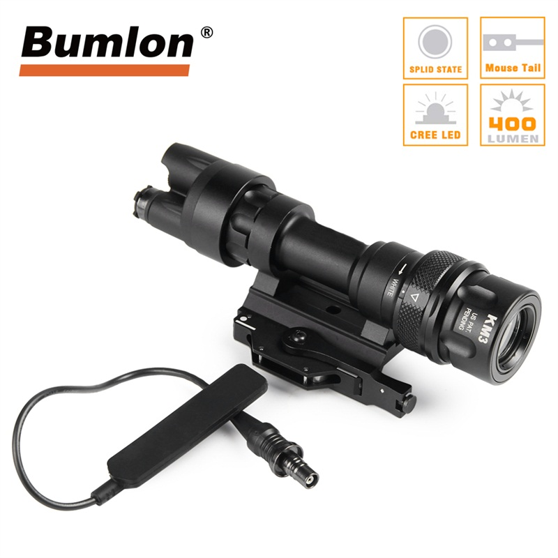 Tactical Flashlight Improved M952 12V LED Light 400 Lumens with QD M93 Mount Weapon Light Shockproof