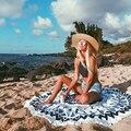 Moda Redondo Magnífico Borla Franja Irradian chal Toalla de Playa de Algodón Estera de Tabla Paño de Tela Cubierta de La Cama