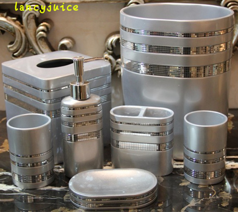 Western Bathroom Set Hot Silver High Class Resin 5 Pcs/set 7 Pcs/set Bathroom  Accessories Bath Kit