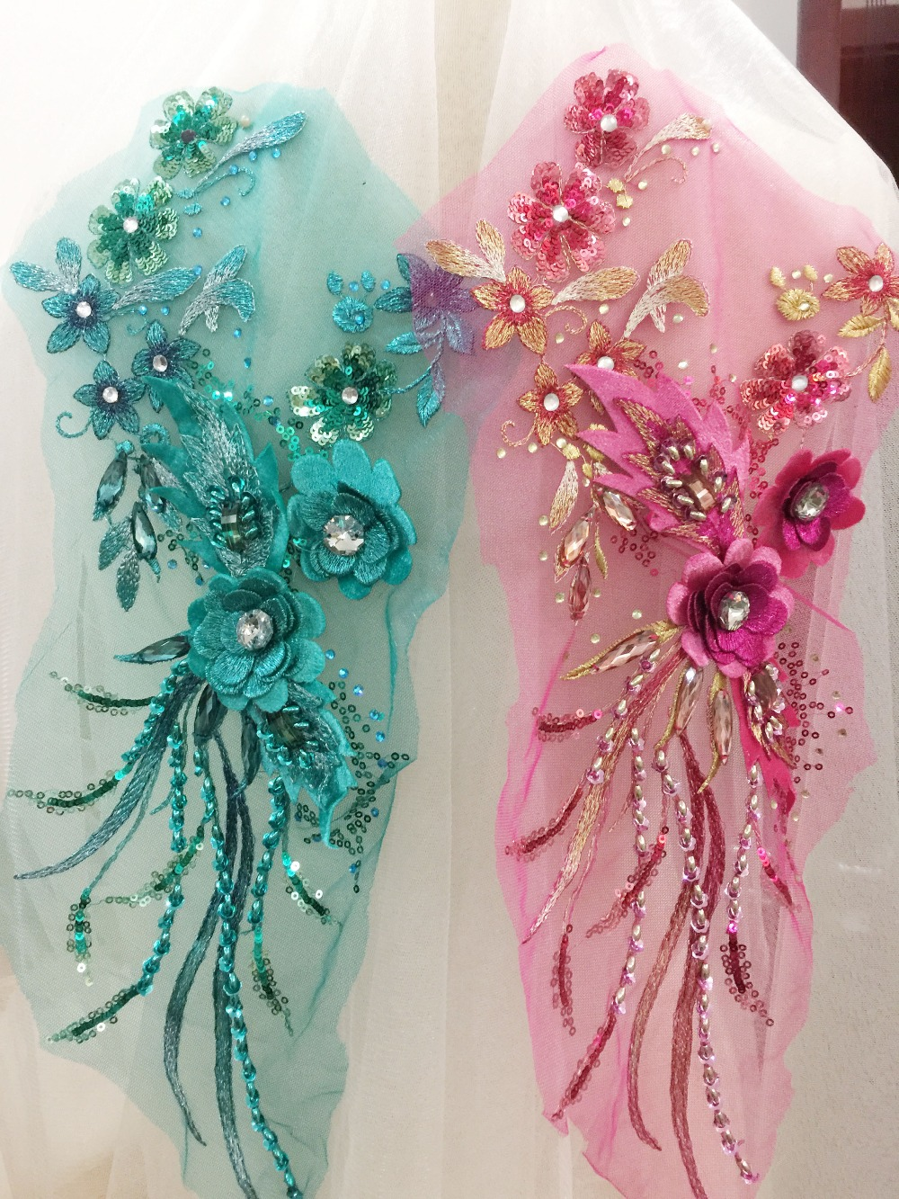 2 pcs 3D Rhinestone Beaded Flower Lace Applique in Royal blue Pearl Bead Embroidered for Dance Costumes Bridal Gown Accessory in Patches from Home Garden