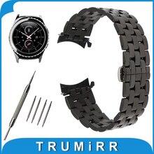 20mm de acero inoxidable correa de reloj banda de extremo curvo para samsung Gear S2 Classic R732/R735 Mariposa Hebilla de Correa de Muñeca pulsera