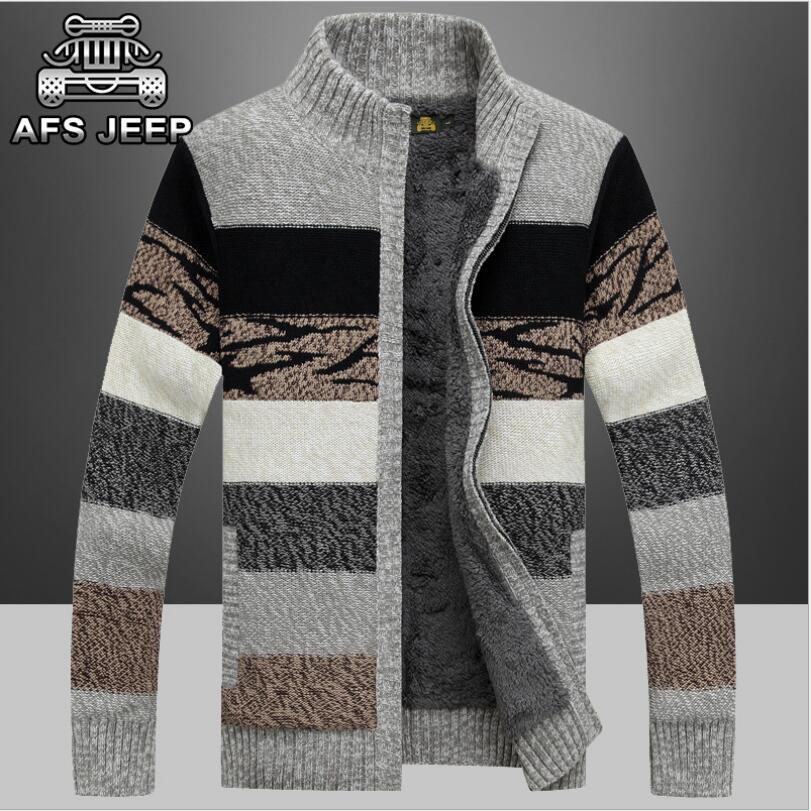 Sweaters New Arrival Factory Wholesale Price Afs Jeep Plus Velvet High Qualtiy Sweaters Warm Fashion Men Winter Thick Size M-3xl Year-End Bargain Sale