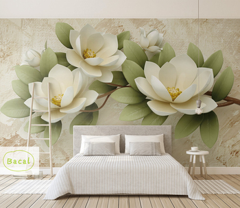 Bacal 3d Modern Photo 5d Wallpaper Mural Painting White Flowers For Living Room Bedroom Tv Background Floral Home Decor Paper Buy At The Price Of 9 78 In Aliexpress Com Imall Com