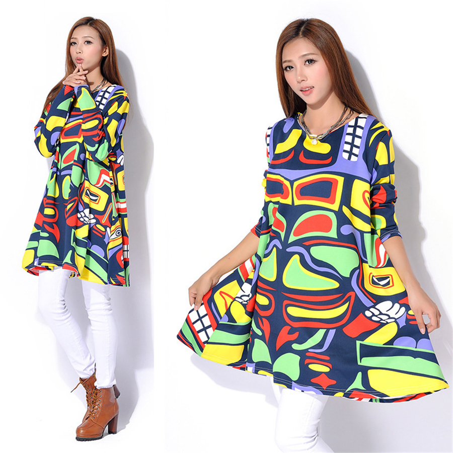 ФОТО Women Knitted Dress Long Sleeves  Pregnancy Cotton Clothing Maternity Loose Dresses Pregnant Sweater Colorful Dress 70R061