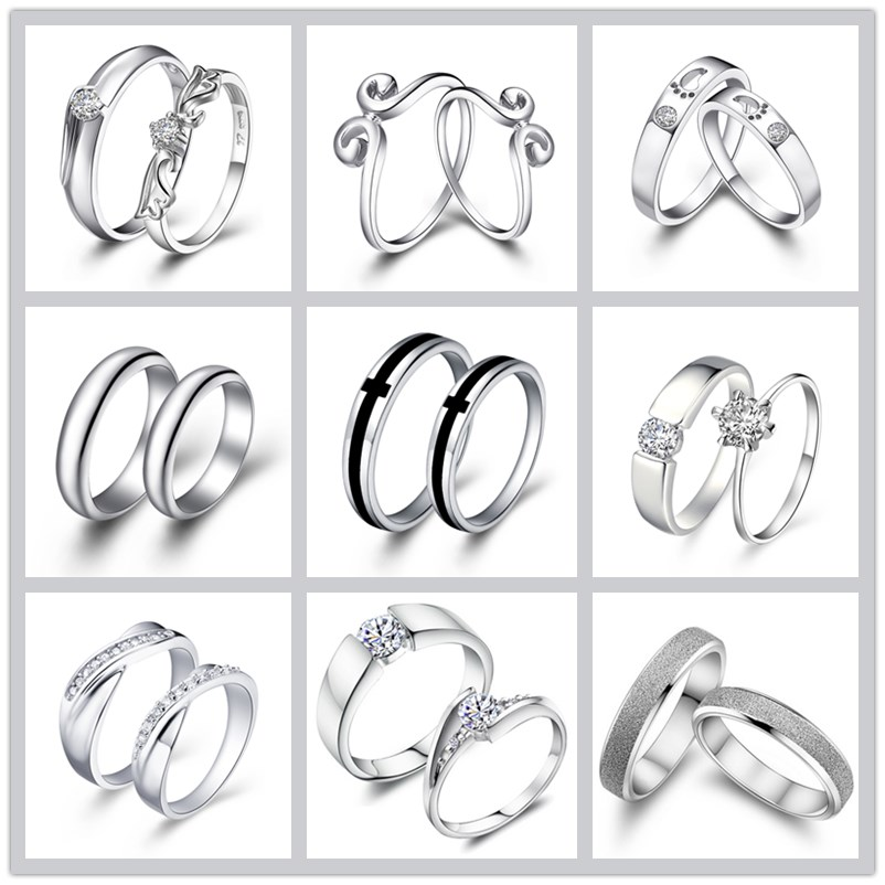 (one pair) Round Ring Top Quality Sterling Silver Weding Ring Prong Setting Cubic Zirconia Jewelry for Couples Anillos Gift ...