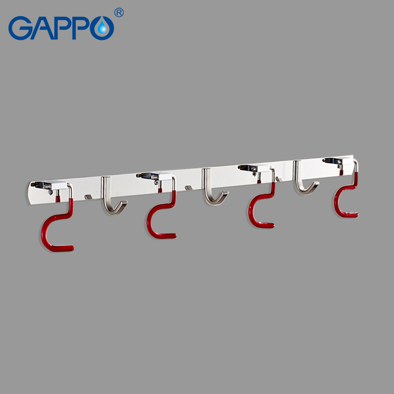 GAPPO Robe Hooks Creative Stainless Steel mop and broom Racks Multifunction bathroom robe hooks bathroom Accessories