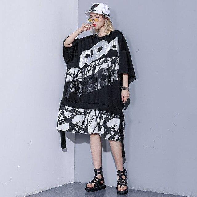 d4648acdd8032cf Women T Shirt Dress Street Style Woman Summer Dresses Print Embroidery  Letter Splice Dress Large Size
