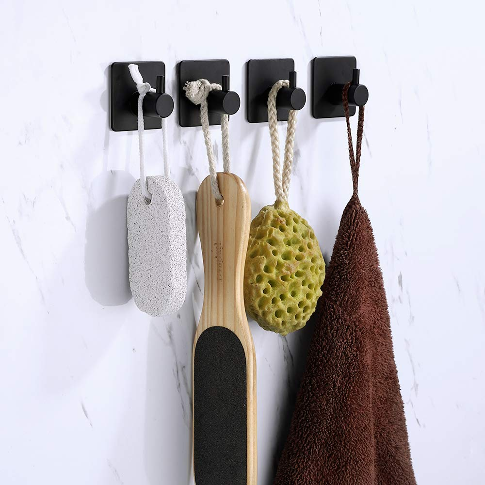 Modern 3M Self Adhesive Hooks Stainless Steel Towel Robe Coat Cloth Bag Key Holder Hanger Heavy Duty Wall Mounted Black