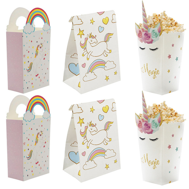 Unicorn Party Gift Bags 1st Birthday Paper Popcorn Box Cookies Decorations Kids Baby