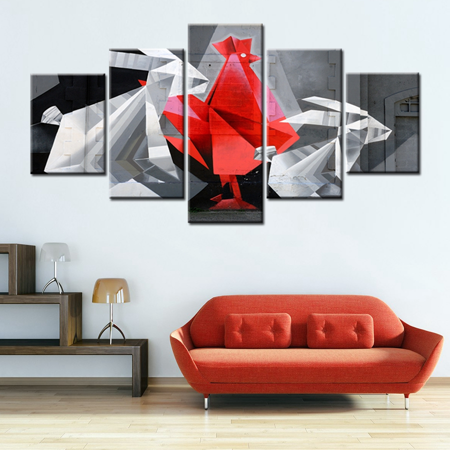 3D Graffiti The Cock Rooster And Rabbit Animals Canvas Painting Cool Artwork  Gift For Modern Home