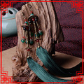 Exaggerate women Ethnic vintage earrings long fringe earrings green,Handmade Chinese wind agate Jewelry tassel earrings