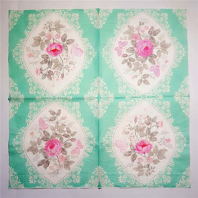 20 Vintage Tisch Papier Serviette Tissue Decoupage Grau Grün Gemusterten Blumen Geburtstag Hochzeit Cocktail Party Wohnkultur Matte