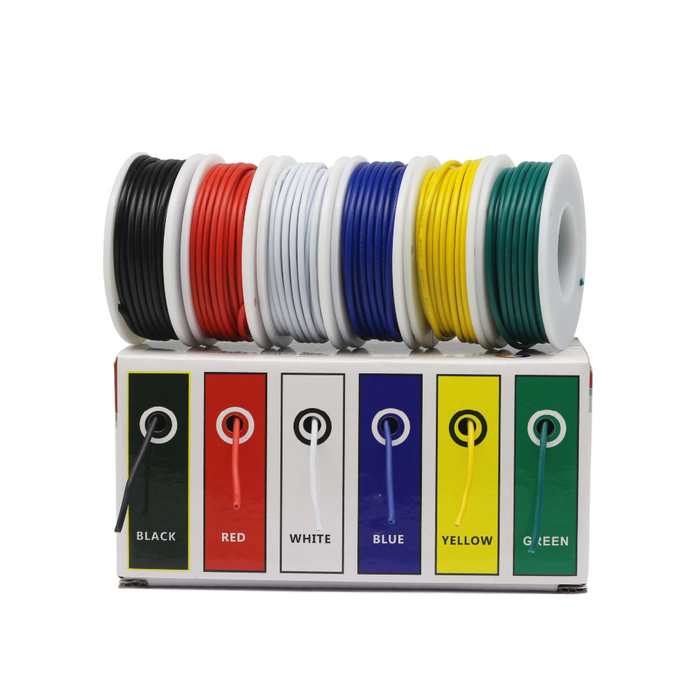 CBAZ 26 AWG 1007  Hook up Wire Kit (Stranded Wire Kit) 26 Gauge 6 colors  32.8 feet Each Electrical Wire 60mCBAZ 26 AWG 1007  Hook up Wire Kit (Stranded Wire Kit) 26 Gauge 6 colors  32.8 feet Each Electrical Wire 60m