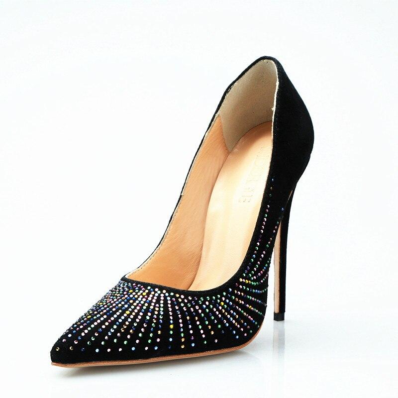 100% prawdziwe zdjęcia wysokie obcasy kobiety wiosna jesień buty eleganckie kryształowe szpilki panie pompy czarne zamszowe sukienka na imprezę buty 2019 w Buty damskie na słupku od Buty na  Grupa 2