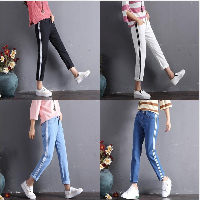 2019 Spring New Jeans Women Ankle-Length Female Korean Version Personality Side Webbing Loose Straight Jeans Fashion Side Stripe