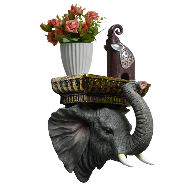 Décor mural créatif éléphant/girafe Figurine organisateur étagère décorative suspendue résine Statue stockage TV fond Shief