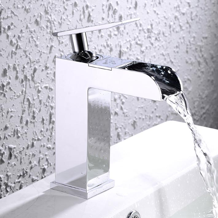 Contemporary single hole/handle deck mounted waterfall faucet bathroom sink mixer tap chromeContemporary single hole/handle deck mounted waterfall faucet bathroom sink mixer tap chrome