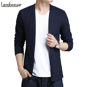 Image 1 - 2020 New Autumn Winter Brand Clothing Sweater Men Fashion Solid Color Slim Fit Cardigan Men Open Stitch Knitted Sweater Men