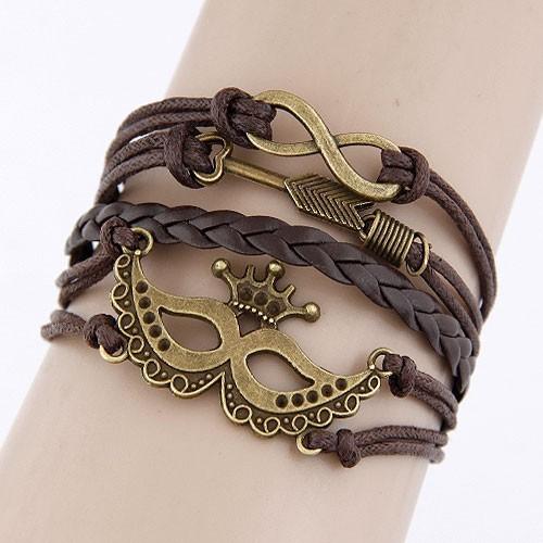 Leather Charm Bracelet - brown masquarade
