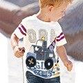 2017 Crianças Marca de Roupas Meninos Primavera Roupas Crianças Encabeça Meninos Da Criança Do Bebê do Desenhador T Shirts Tops Algodão de Manga Curta T