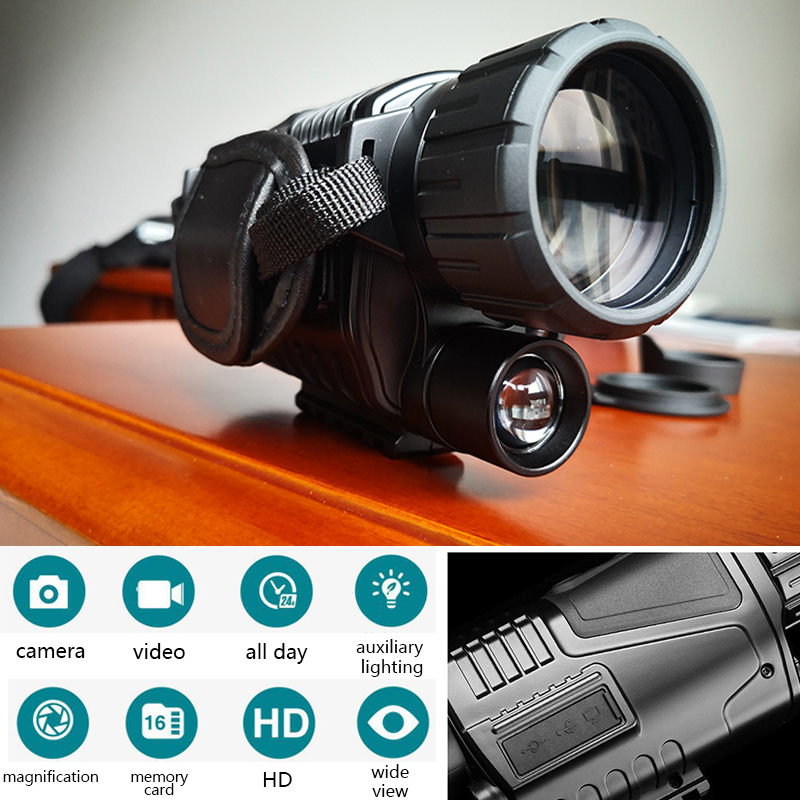 Infrared Digital Night Vision Monocular Infrared Scope Hunting Telescope 5x40 Long Range With Built-in Camera