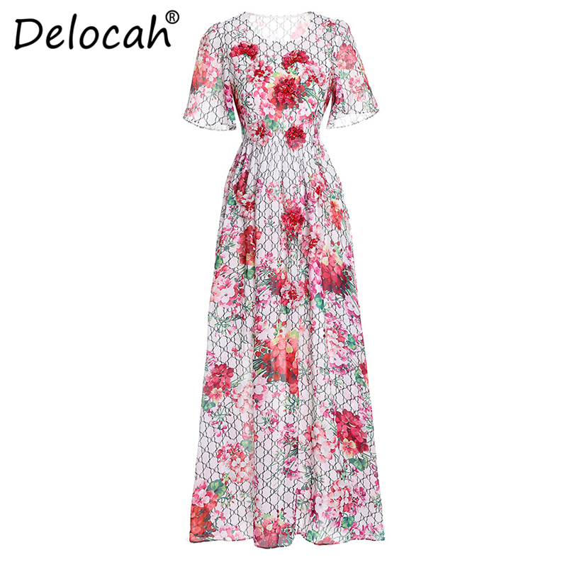 Delocah Women Vacation Maxi Dresses Runway Fashion Design Long Sleeve Vintage Appques Chiffon Flower Printed Long