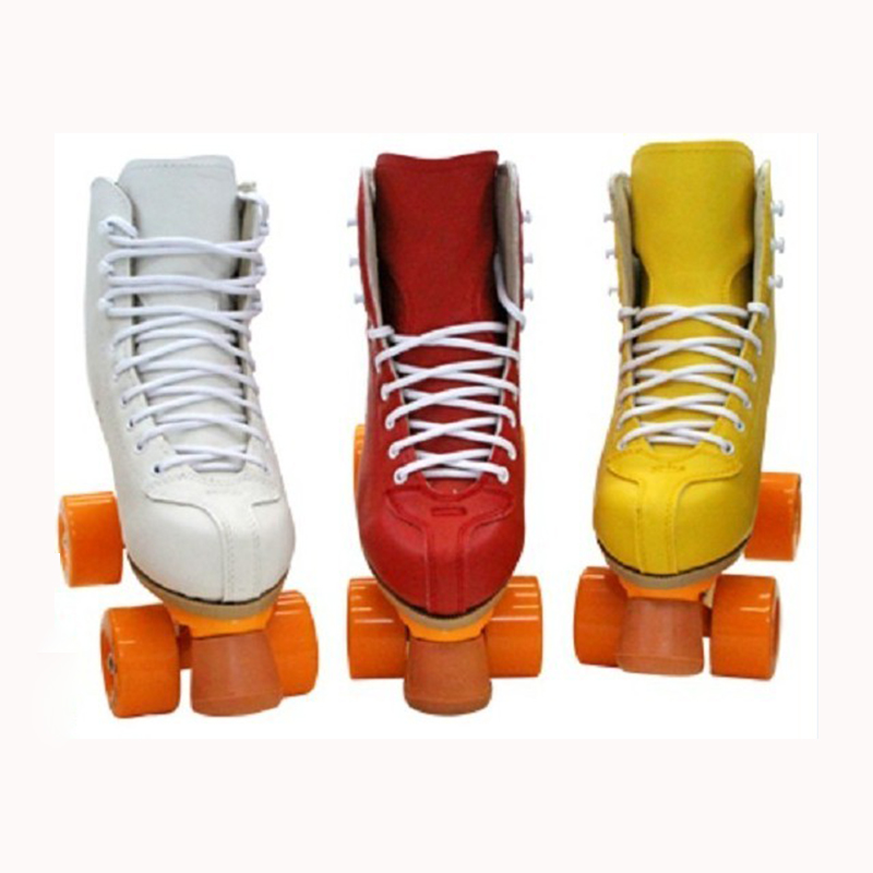 Image 2 - Professional Parenting Two Line Roller Skates Shoes Double Row Skating 4 PU Wheels High Grade PVC Leather Children Adult IB49Skate Shoes   -