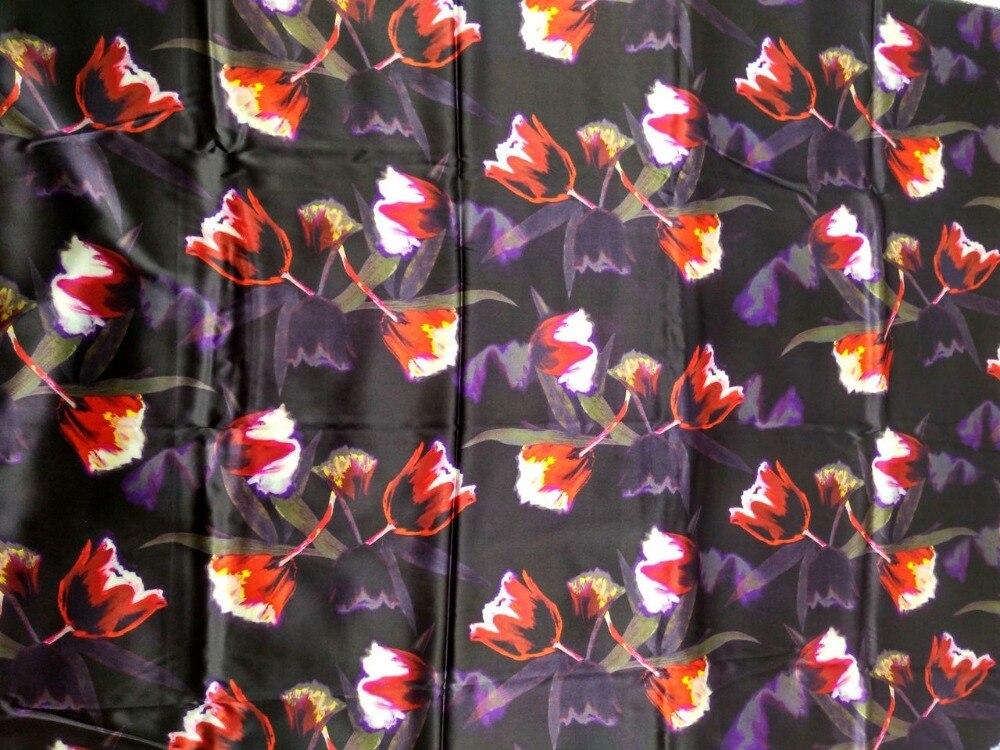 Бесплатная Для женщин ткань супер высокая компьютера цифровой красные цветы Тяжелая стрейч атласа натуральный шелк Ткань скидка сплетенны