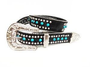 Image 3 - The original diamond three piece belt Turkey blue diamond belt is 3.8 CM