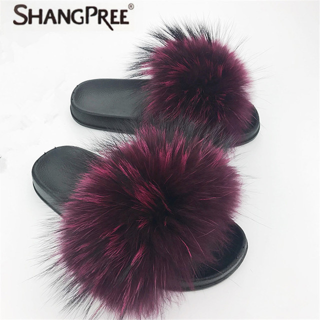 6ef01457 SHANGPREE Summer Women Fox Fur Slippers Real Fox hair Slides woman Furry  Indoor Flip Flops Casual Sandals Fluffy Plush Shoes