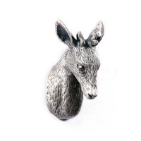 Unique Pewter Deer Head Style Dresser Knobs Cabinet Pull Animal Drawer Knobs Cupboard Pulls Handle Antique
