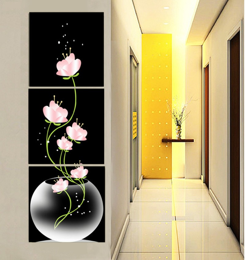 Frameless 3 Panels Beautiful Flowers Printed On Canvas For Entryway ...