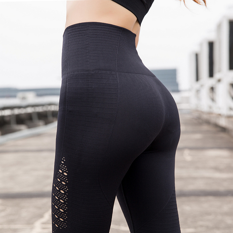 FASTORM Women Tight Fitness Leggings Elastic Waist Gym Sports Yoga Pants Sexy Compression Breathable Running Pant