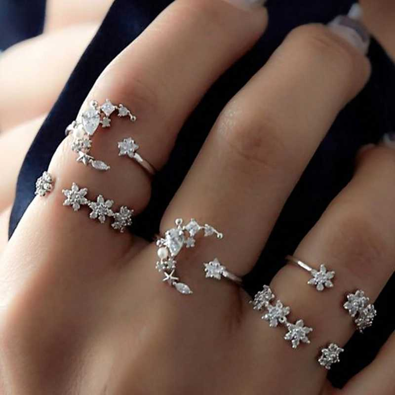 Hot Sale 5Pcs/Set Crystal Star Flower Stackable Sparkly Rings Vintage Boho Jewelry Gifts Finger Ring Set