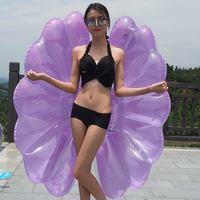 2019 New Purple Shell 140cm Giant Glitter Angel Wings Inflatable Pool Rafts Air Mattress Beach Lounger Water Float Swimming Ring