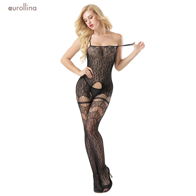 Buy New Arrival Open Crotch Black Lace Striped Sheer Bodystocking Bodysuit Erotic Lingerie Women Crotchless Mesh Erotic Lingerie