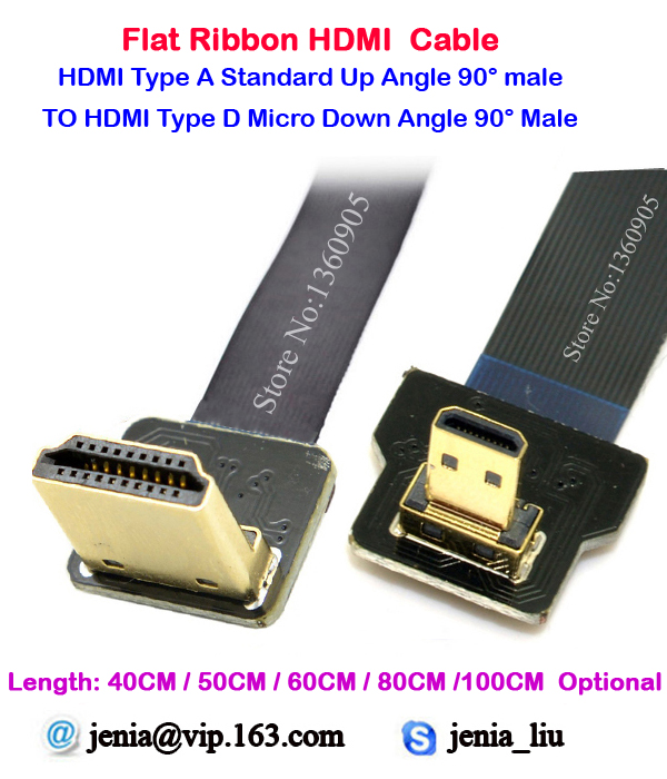 40cm/50cm/60cm/80cm/1M Standard HDMI Type A Male To Micro Type D UP Angled 90 Degree Super Soft Ribbon Cable