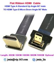 40 cm/50 cm/60 cm/80 cm/1 M Padrão HDMI Tipo A Macho para Micro Tipo D para CIMA Em Ângulo de 90 graus Cabo de Fita Super Macio