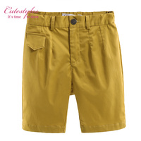 Pettigirl New Boys Shorts Summer Pants Casual Solid Everyday Trousers Light Brown Kids Cotton Clothing Retail