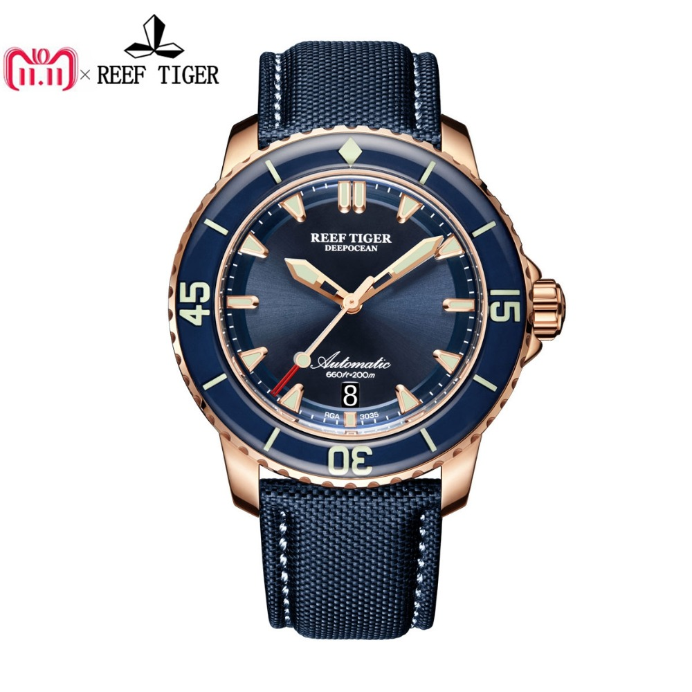 Reef Tiger/RT Dive Watches for Men Rose Gold Blue Dial Super Luminous Watches Analog Automatic Watches RGA3035 reef tiger rt super luminous dive watches for men rose gold blue dial watches analog automatic watches rga3035