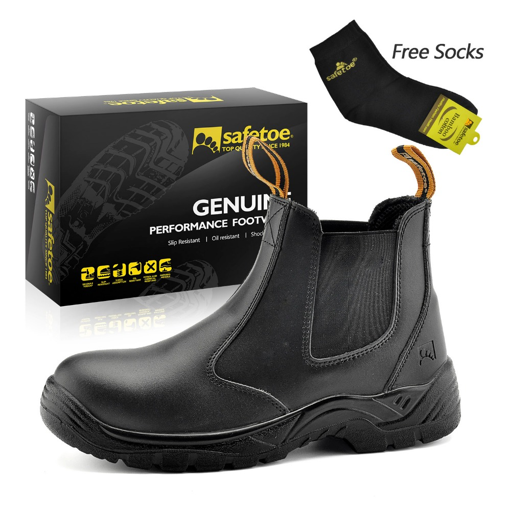 Safetoe Safety Shoes Brand Leather Mens Work Boots Work