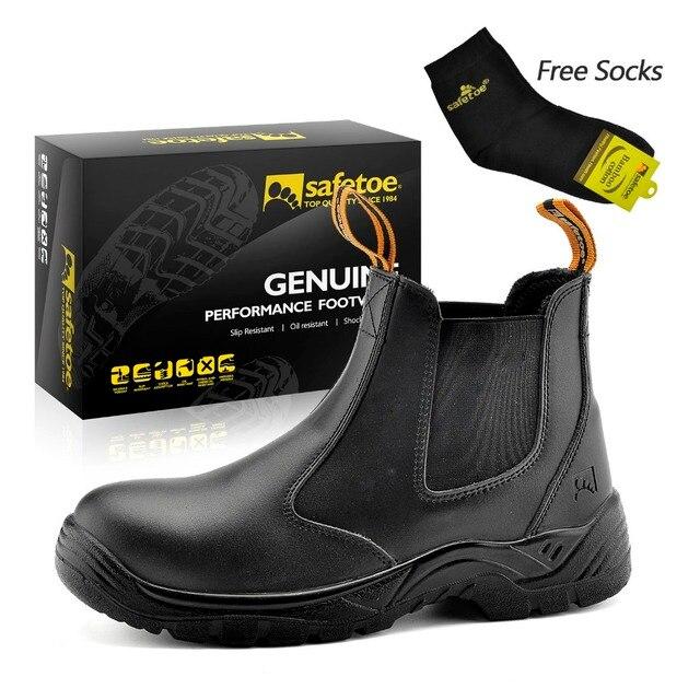 Safetoe Scarpe In Pelle di Marca Mens Stivali Da Lavoro di Sicurezza Lavoro  Scarpe Stivali di