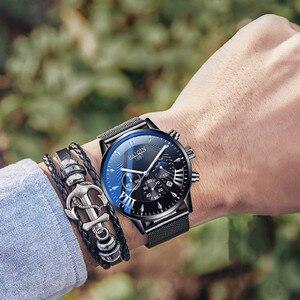 Image 5 - Herren Uhren Top Brand Luxus HAIQIN Militärische Wasserdichte Uhr Männer Business Quarz Chronograph Mesh Stahl Uhr Relogio Masculin