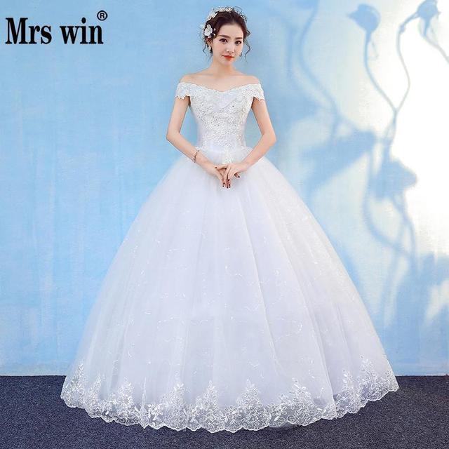 2018 New Wedding Dress Mrs Win Elegant Ball Gown Off The Shoulder Classic  Embroidery Appliques Vestido De Noiva Wedding Dresses fe2a7fdb6108